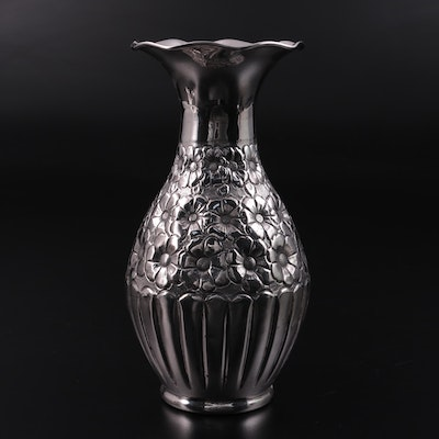 Turkish Style 900 Silver Repoussé Flared Vase, Mid-20th Century
