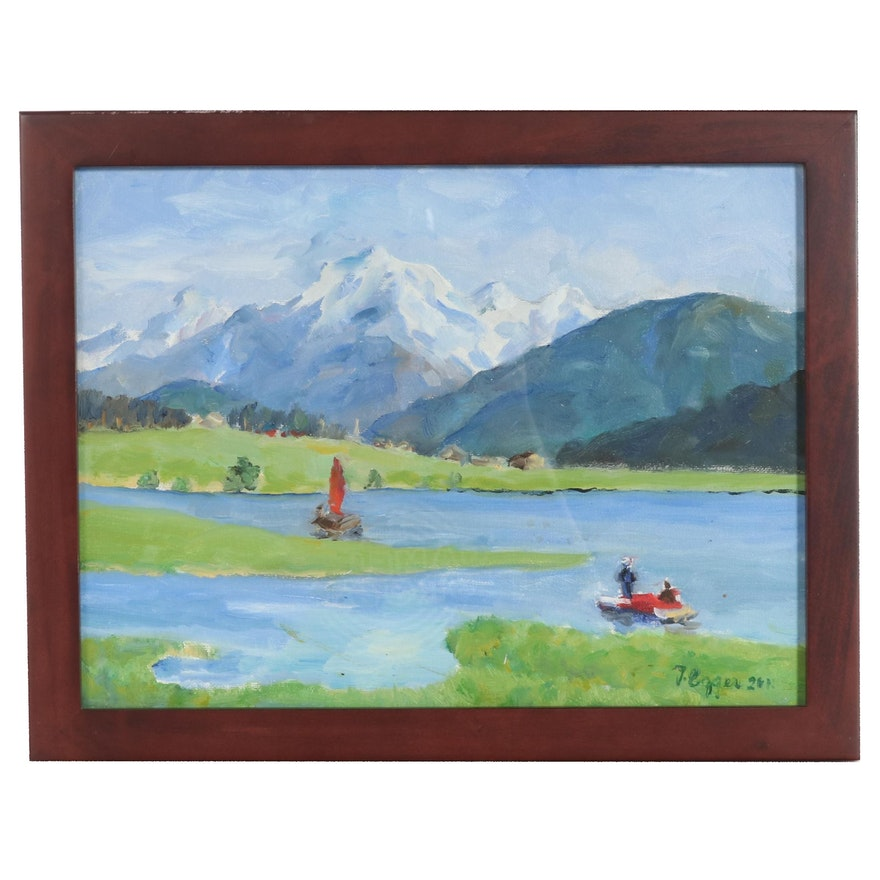 Mountains and Lake Landscape Oil Painting, 2011