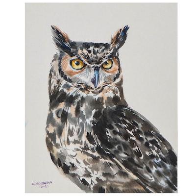 Ganna Melnychenko Watercolor Painting of Owl, 2021