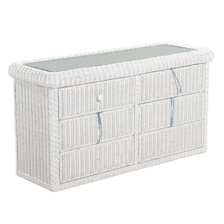 """Contemporary Wicker Paradise """"Elana"""" Six Drawer Chest with Glass Top"""