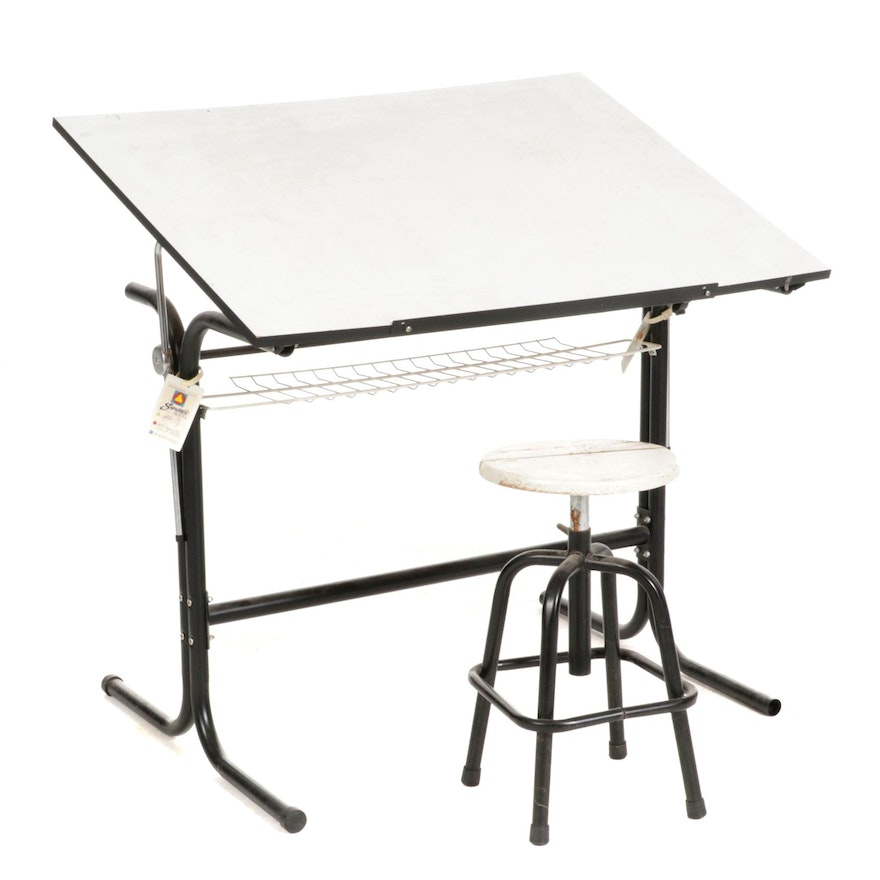 Drafting Table and Adjustable Stool, Late 20th Century