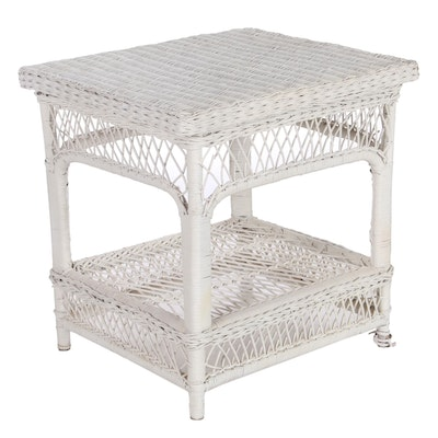 Painted Wicker End Table