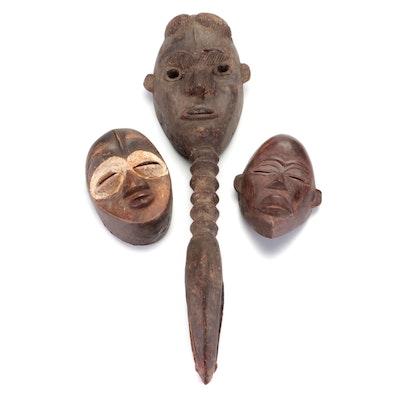 Dan Inspired Hand-Carved Wood Masks, West Africa