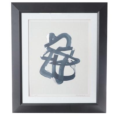 """Silver Leaf Embellished Giclée """"Blue Graphics II,"""" 21st Century"""