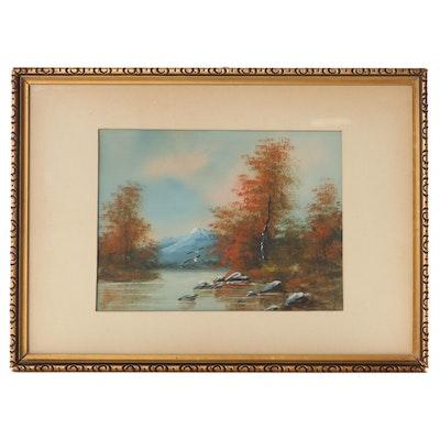 Landscape Gouache Painting, Mid-20th Century