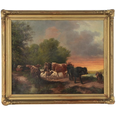 Continental School Oil Painting of Pastoral Landscape, Circa 1900
