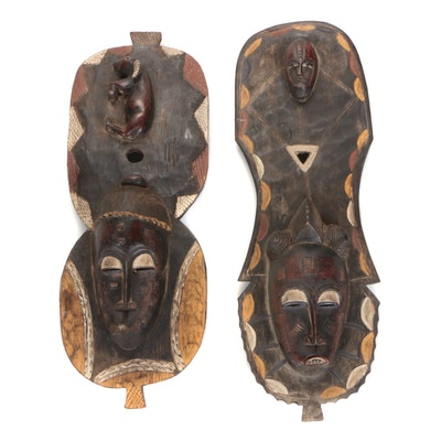 Baule Inspired Wood Polychrome Masks, West Africa