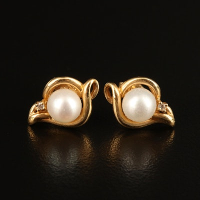 14K Pearl and Diamond Earrings