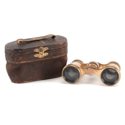 LeFils Paris Mother-of-Pearl Opera Glasses with Case, Late 19th/ Early 20th C