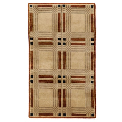 2'11 x 5' Hand-Knotted Indian Modern Style Area Rug