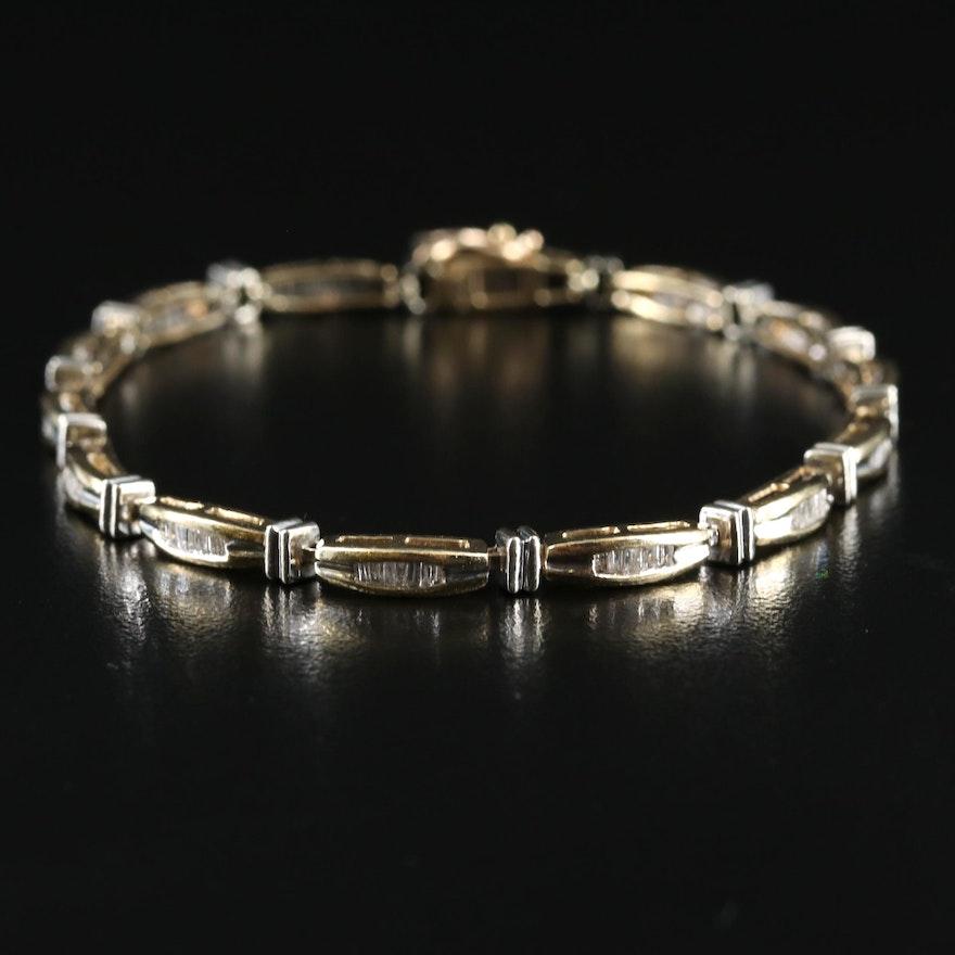 10K 1.00 CTW Diamond Channel Bar Link Bracelet