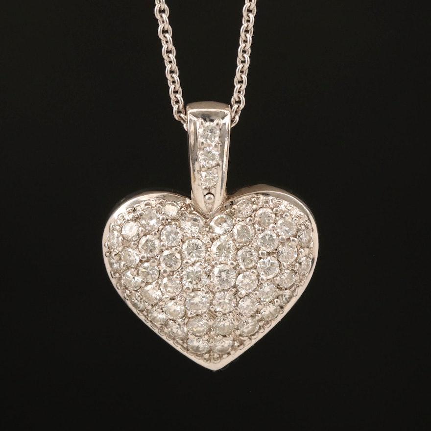 14K 1.25 CTW Diamond Heart Pendant Necklace