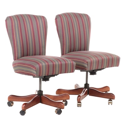 Fairfield Chair Company Stripe Fabric Blend Upholstered Rolling Office Chairs