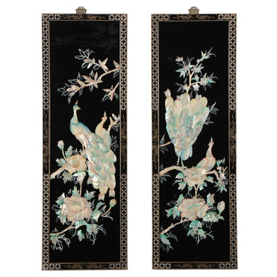 Chinese Dyed Mother of Pearl Peacock Folding Screen Panels