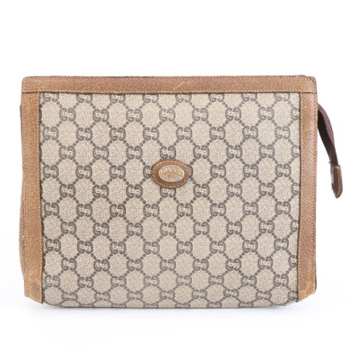 Gucci Plus Cosmetic Bag in GG Plus Canvas with Brown Leather Trim