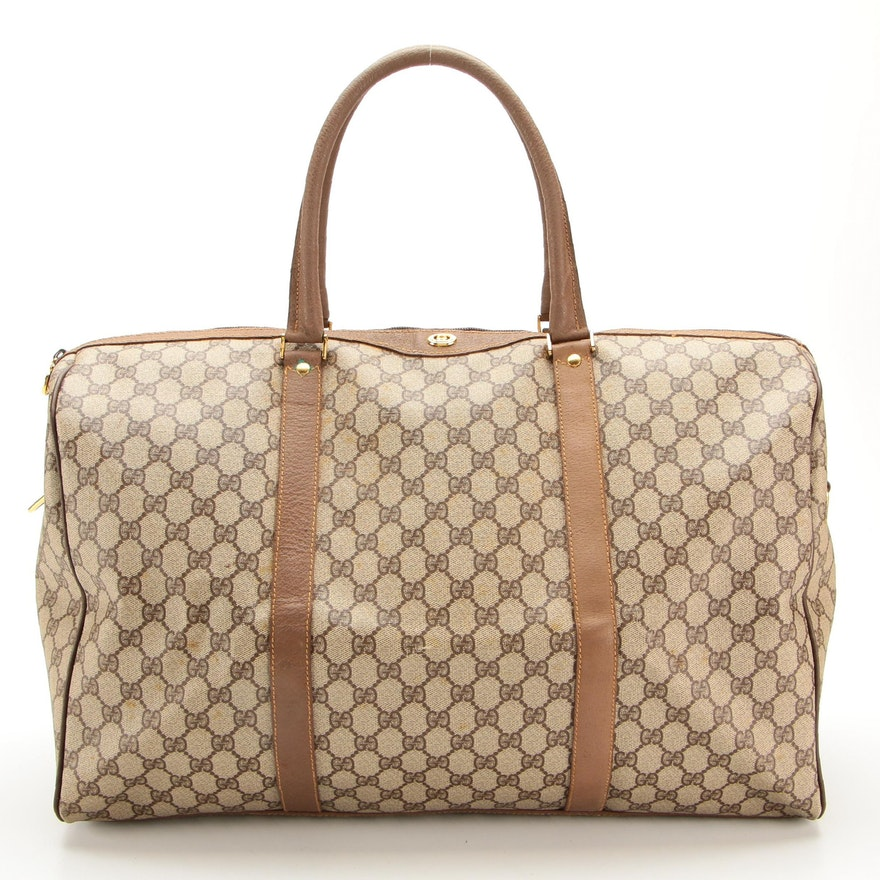 Gucci Duffle Bag in GG Supreme Coated Canvas with Leather Trim