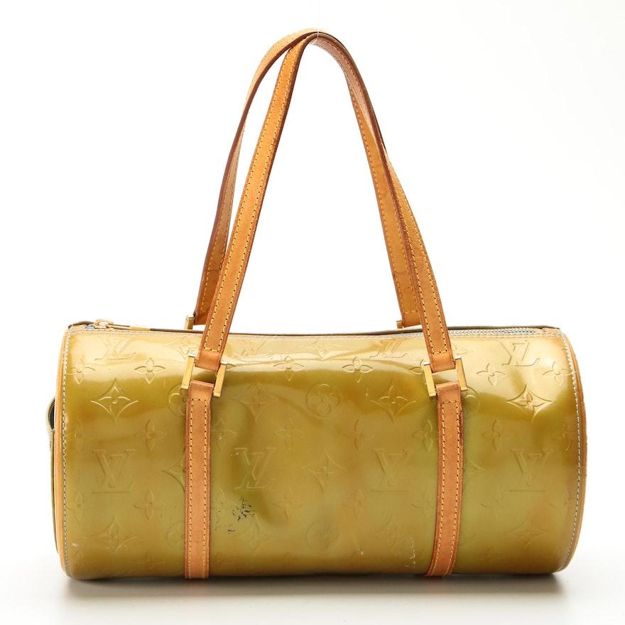 Louis Vuitton Bedford Barrel Bag in Monogram Vernis with Vachetta Leather Trims