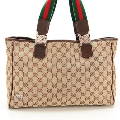 Gucci Tote Bag in Tan GG Canvas with Leather and Webbing Trim