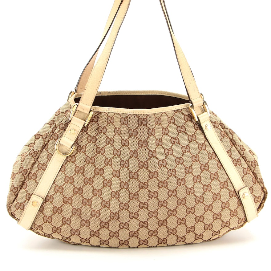 Gucci Shoulder Tote Bag in Tan GG Canvas with Leather Trim