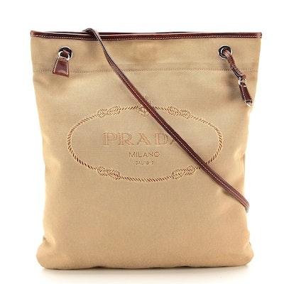 Prada Shoulder Bag in Dark Tan Canvas Jacquard with Leather Trim