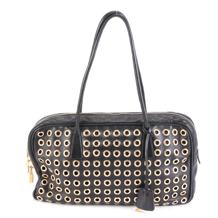 Prada Grommet Embellished Shoulder Bag in Black Leather