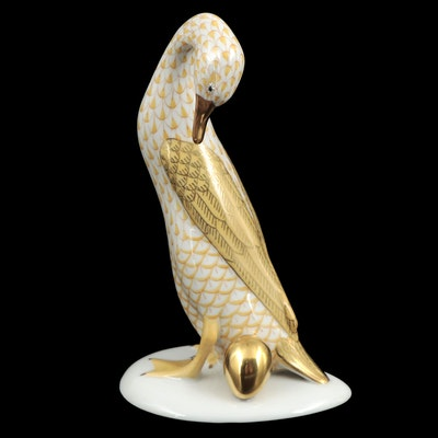 """Herend Butterscotch Fishnet with Gold """"Goose with Golden Egg"""" Figurine, 1996"""