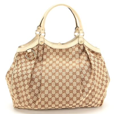 Gucci Sukey Large Tote in GG Canvas with White Guccissima Leather Trims