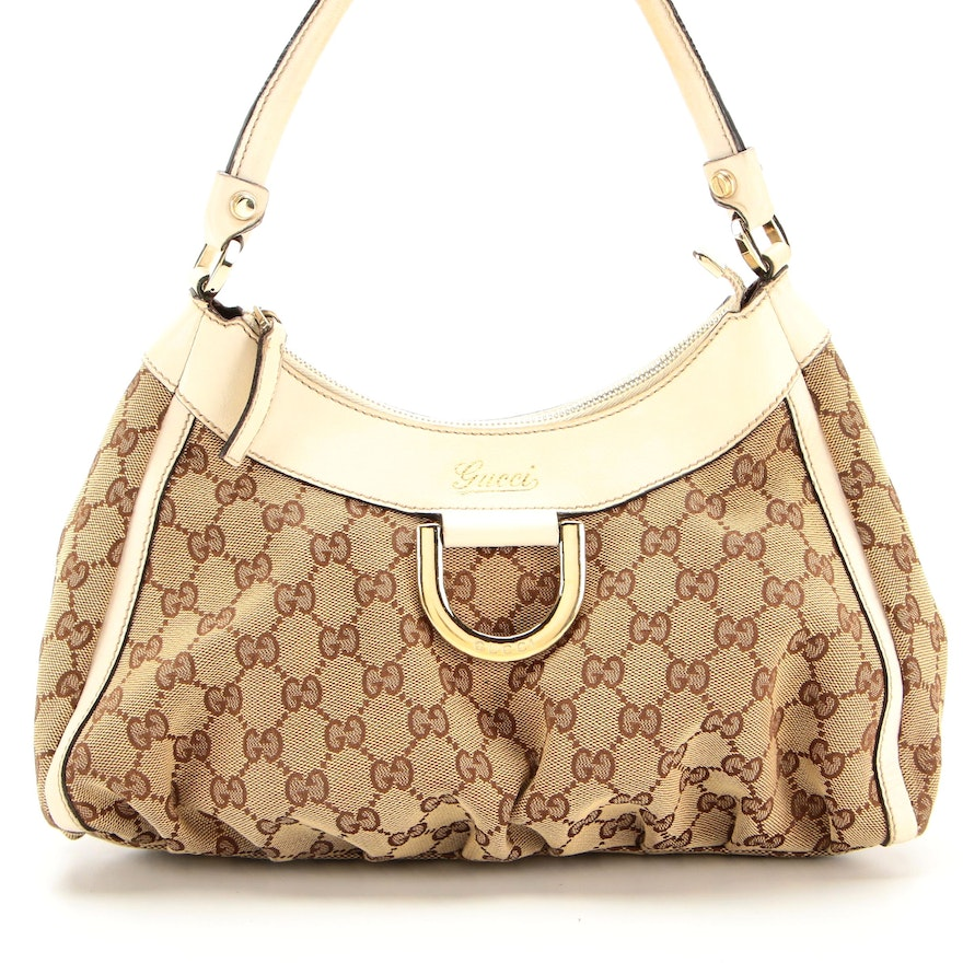 Gucci Abby Shoulder Bag in GG Canvas with White Leather Trims