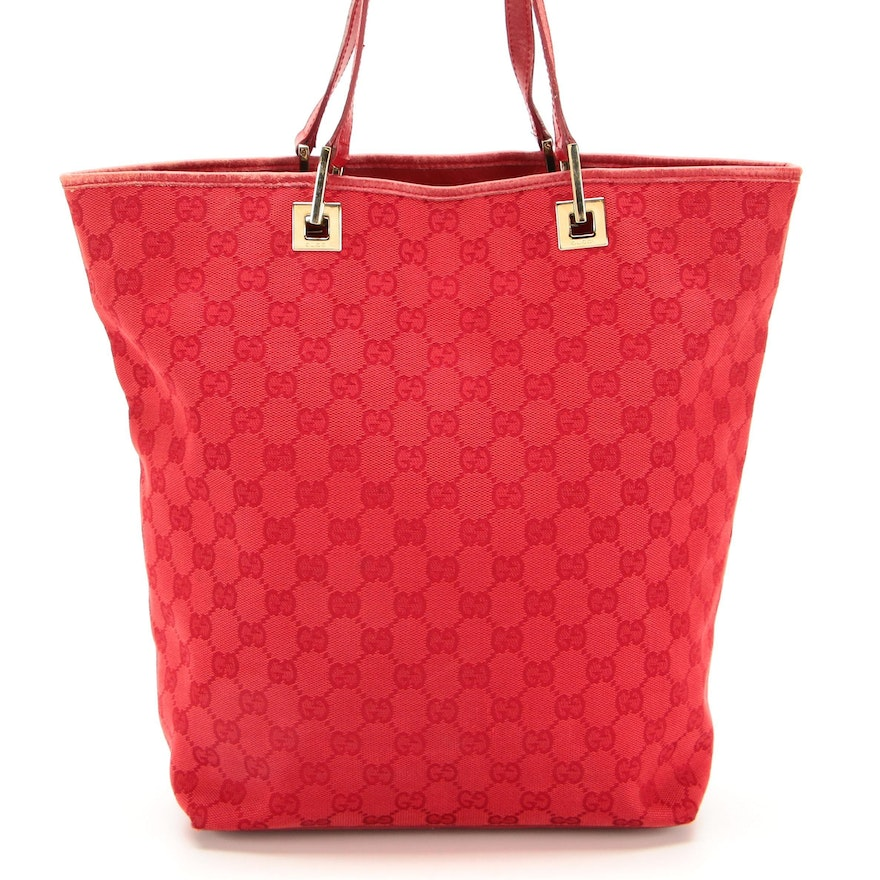 Gucci Tote Bag in Red GG Canvas and Leather