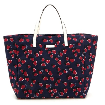 Gucci Tote Bag in Heartbeat Print Canvas with White Leather Trim