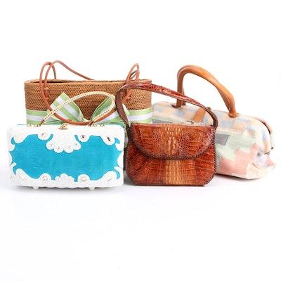 Midas of Miami Embellished Wicker Bag, Caiman Skin Handbag, Carpet Bag and More