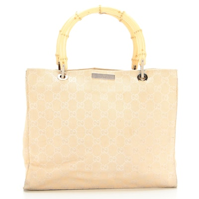 Gucci 2-Way Convertible Tote Bag in White GG Canvas