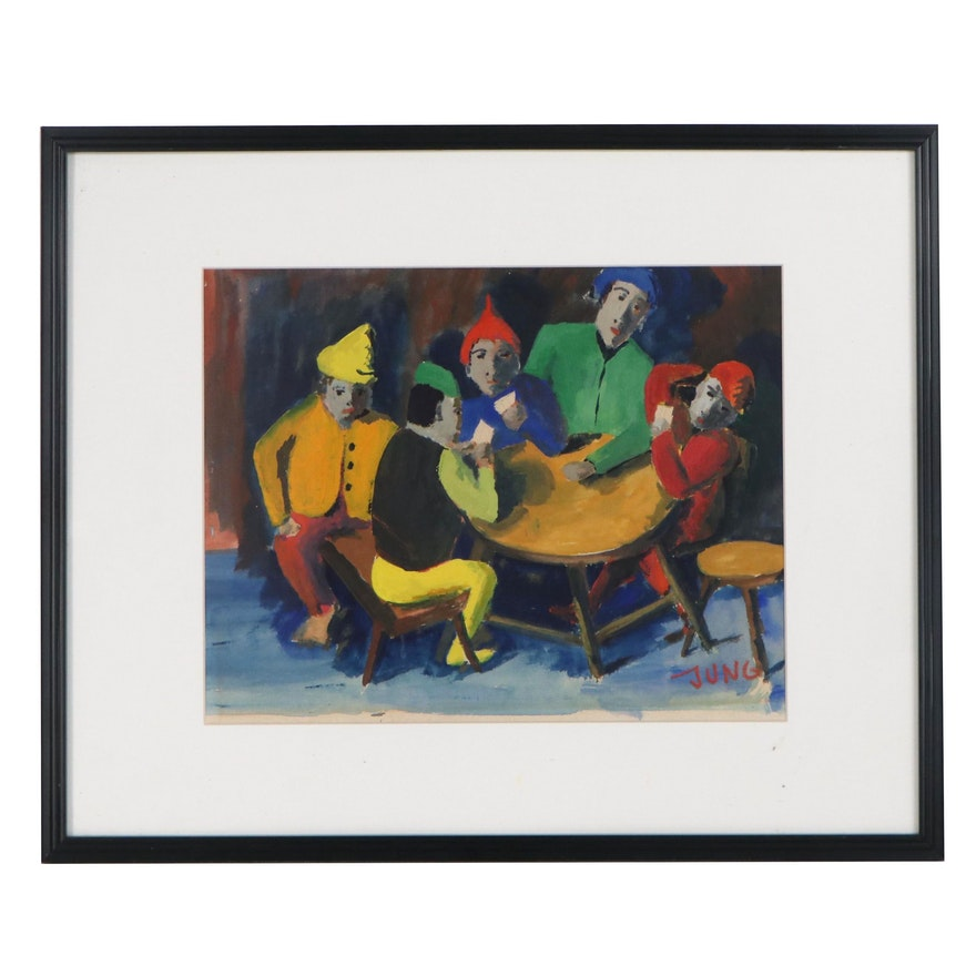 Watercolor Painting of Figures Playing Cards, Mid-20th Century