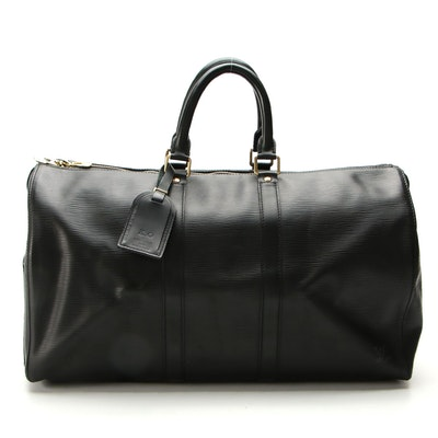 Louis Vuitton Keepall 45 in Black Epi Leather with Luggage Tag