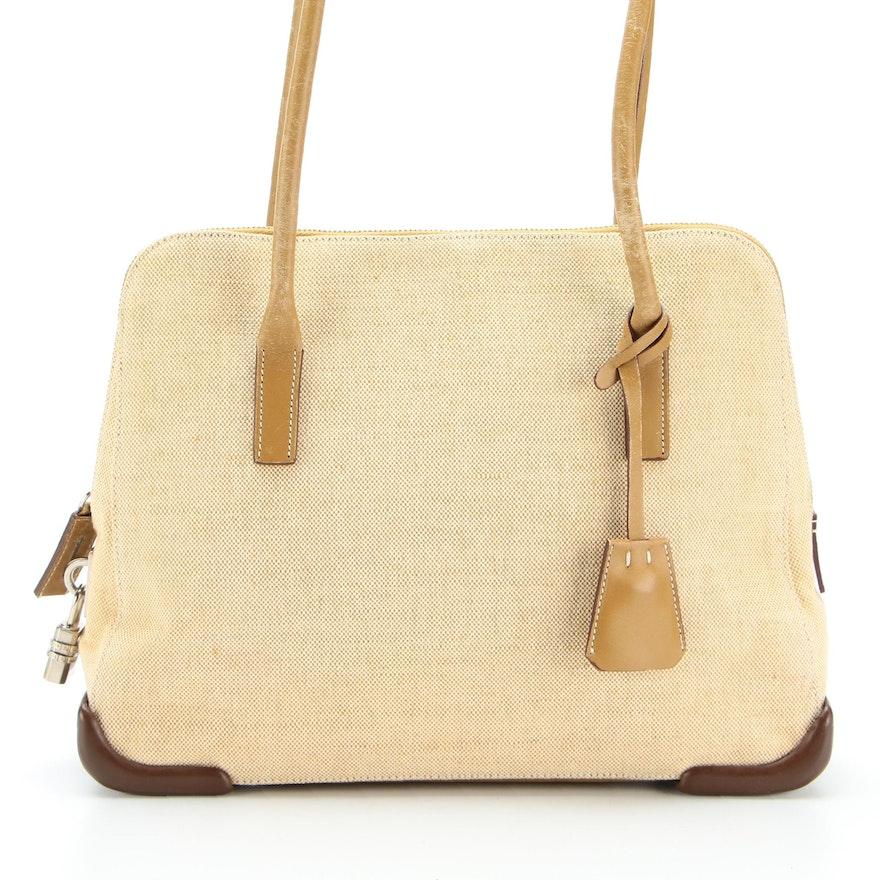 Prada Domed Shoulder Bag in Canvas and Leather Trim