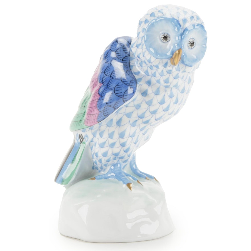 """Herend Blue Fishnet with Gold """"Small Owl"""" Porcelain Figurine"""