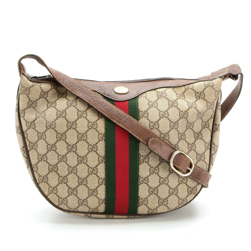 Gucci Accessory Collection Web Shoulder Bag in GG Canvas with Leather Trim