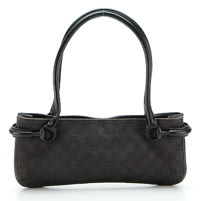 Gucci Long Handle Shoulder Tote in GG Twill with Black Leather Trim