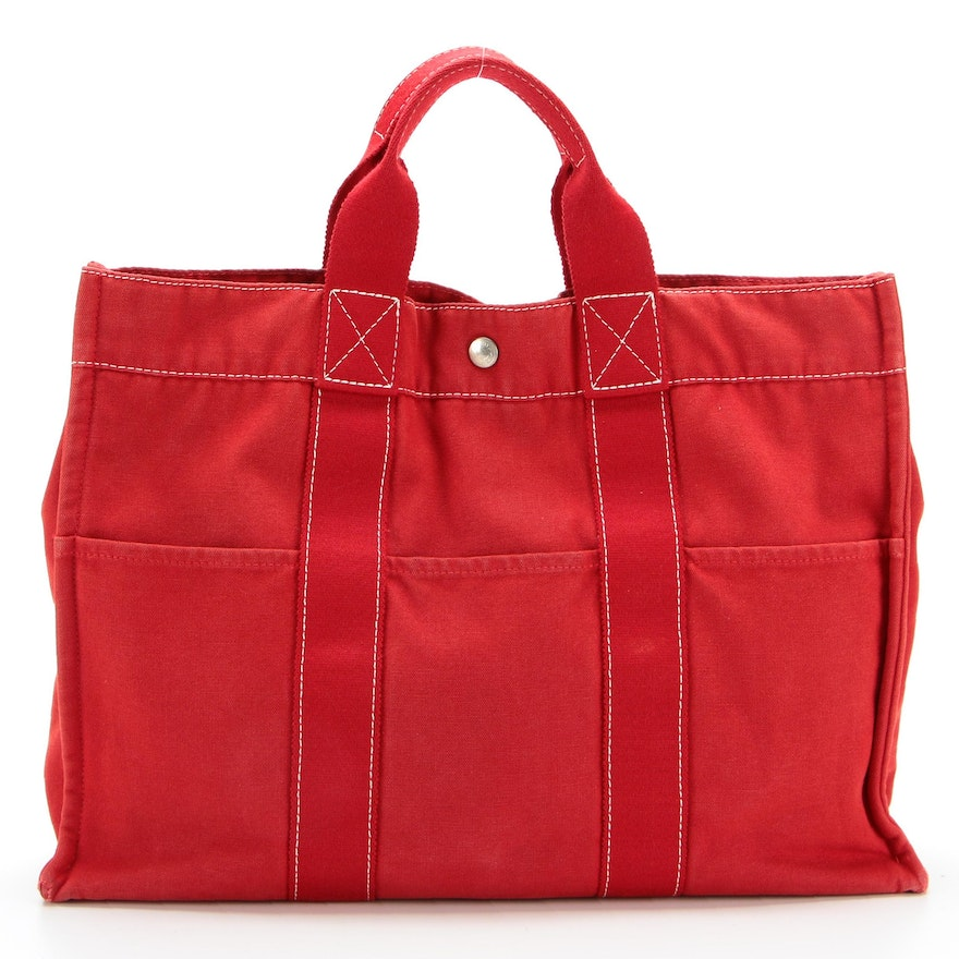 Hermès Fourre Tout MM Tote in Red Canvas