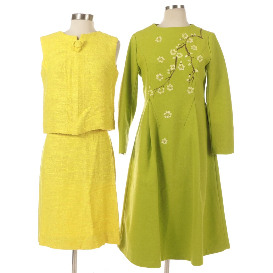 Maggi Stover Sleeveless Tweed Skirt Suit and Princess Seam Dress in Wool