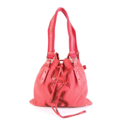 Yves Saint Laurent Small Sac Kahala in Pink Canvas with Leather Trim
