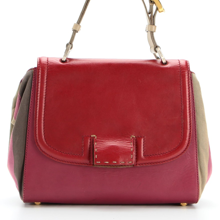 Fendi Silvana Satchel in Leather and Colorblock Canvas with Detachable Strap