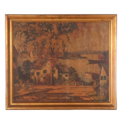 """Offset Lithograph After Camillo Adriani """"Fisherman's Cottage,"""" Late 20th Century"""
