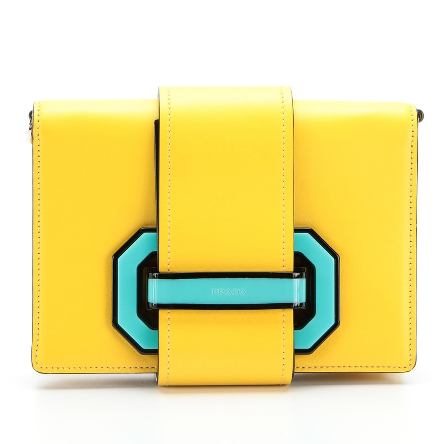 Prada Crossbody Bag in Yellow Leather with Plex Black Ribbon Flap
