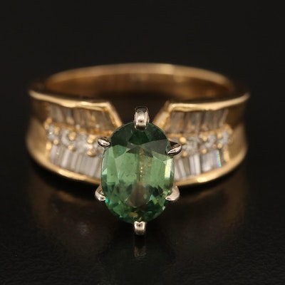 14K and 18K 2.76 CT Demantoid and Diamond Concave Ring