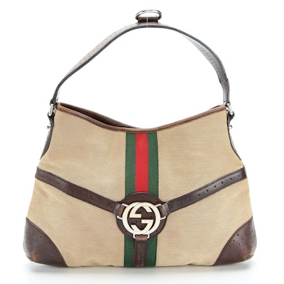 Gucci Reins Hobo Bag with Web Stripe in Canvas and Leather