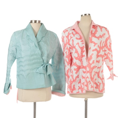 Persaman and Patty Kim Jackets with Decorative Quilted Stitching Details