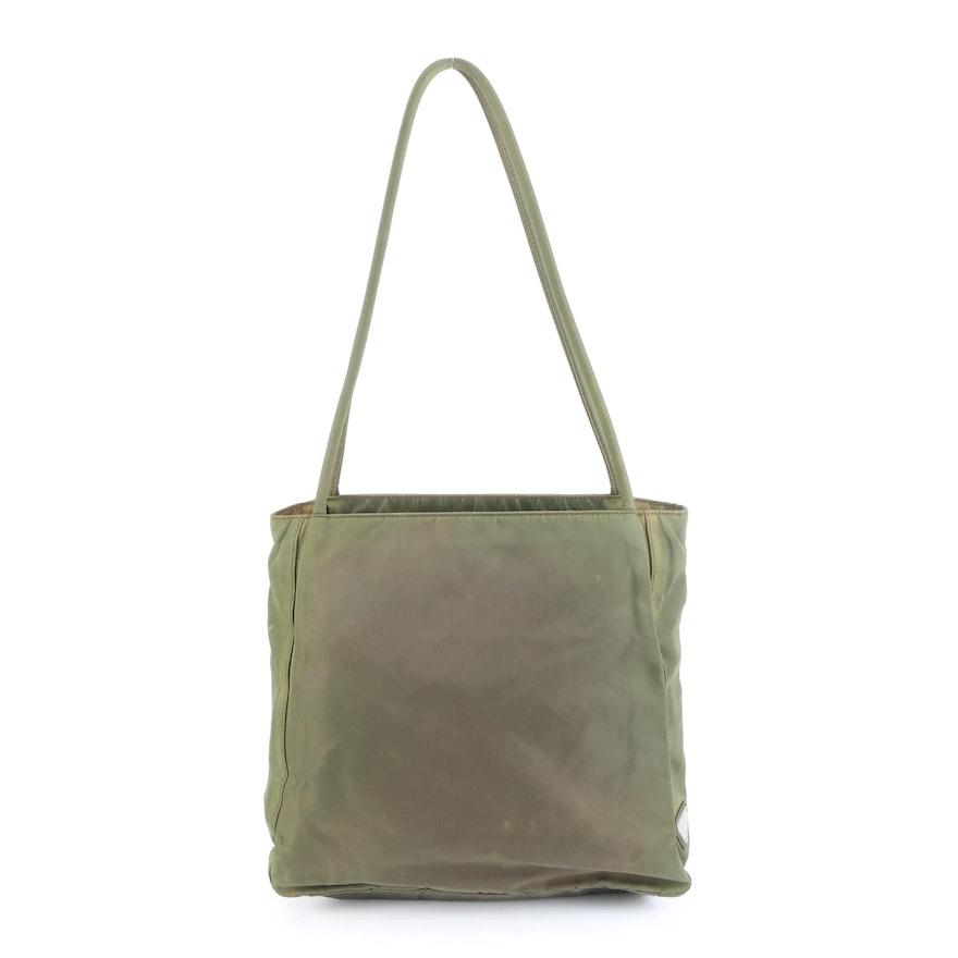Prada Shoulder Tote Bag in Green Tessuto Nylon
