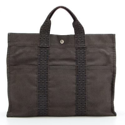 Hermès Herline MM Tote Bag in Black/Gray Canvas