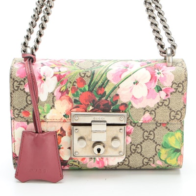 Gucci Padlock Small Shoulder Bag in Blooms Print Coated Canvas and Leather